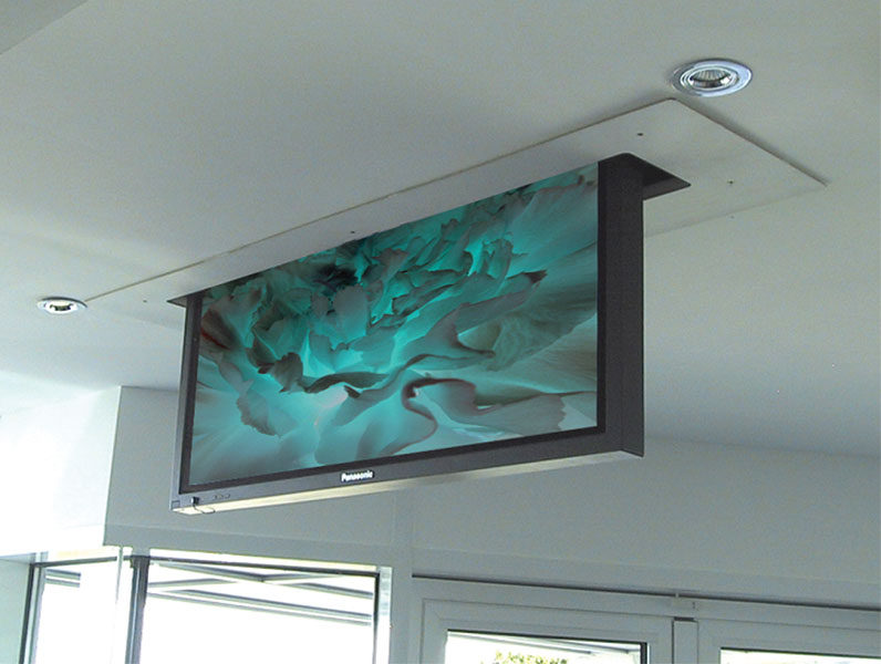 Installation of motorized tv lift on concrete ceiling for Motorized ceiling tv mount